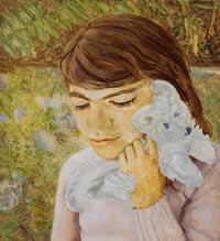 Lucien Freud's Artist's Daughter with Toy Dog