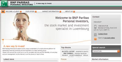 New Website BNP Paribas Personal Investors